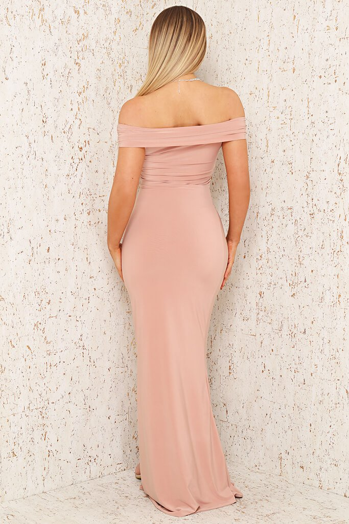 Blush Pink Double Layer Slinky Twist Bardot Fishtail Maxi Dress view 5