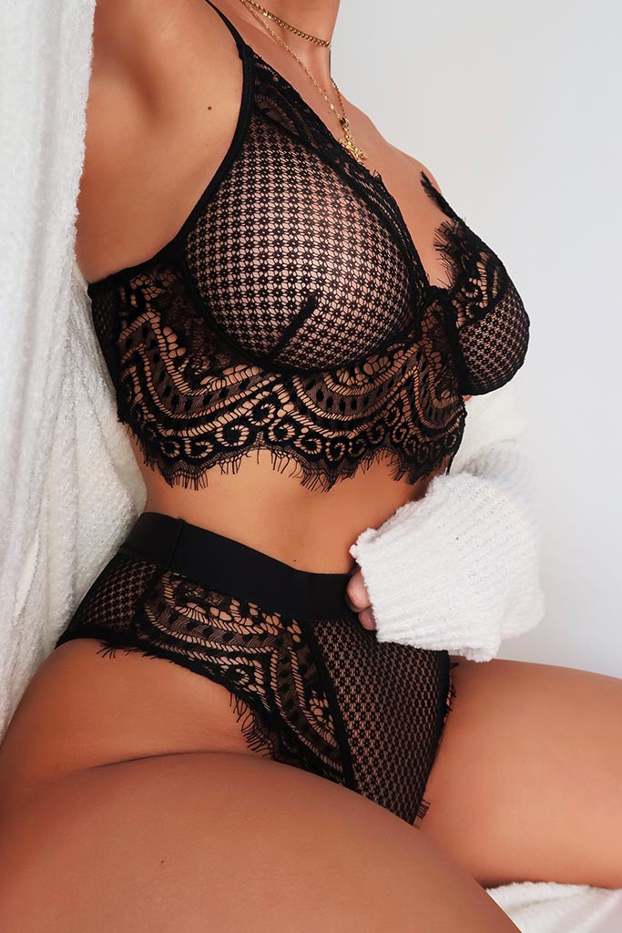 Black Mesh & Scallop Lace Lingerie Set view main view