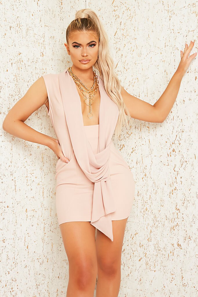 Blush Pink Premium Sleeveless Woven Drape Front Bodycon Dress