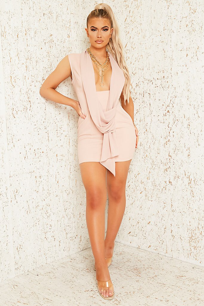 Blush Pink Premium Sleeveless Woven Drape Front Bodycon Dress view 2
