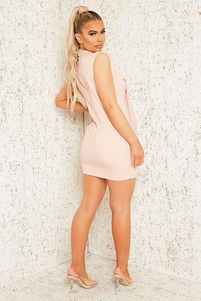 Blush Pink Premium Sleeveless Woven Drape Front Bodycon Dress view 3