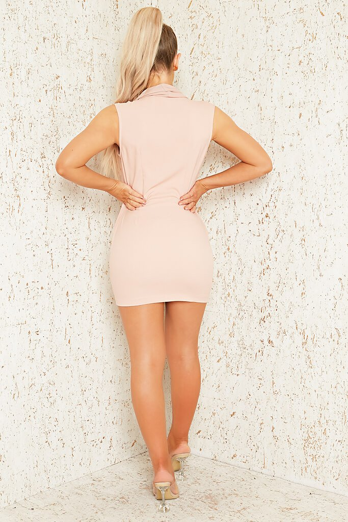Blush Pink Premium Sleeveless Woven Drape Front Bodycon Dress view 5
