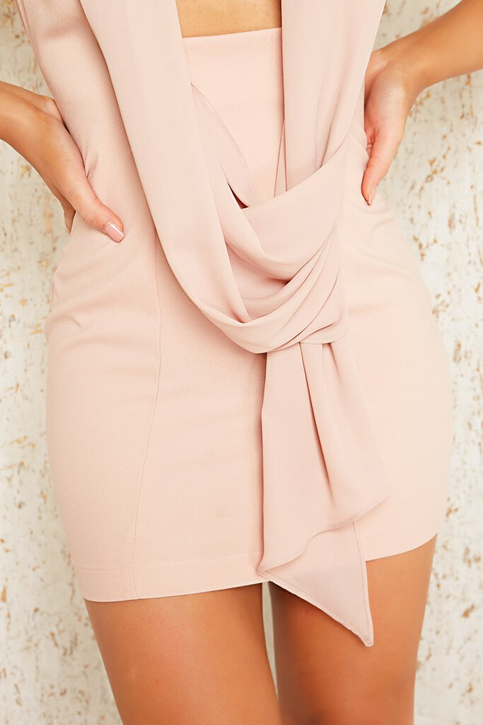 Blush Pink Premium Sleeveless Woven Drape Front Bodycon Dress view 4