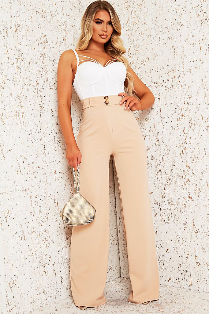 Stone Wide Leg Button Front Trouser view main view