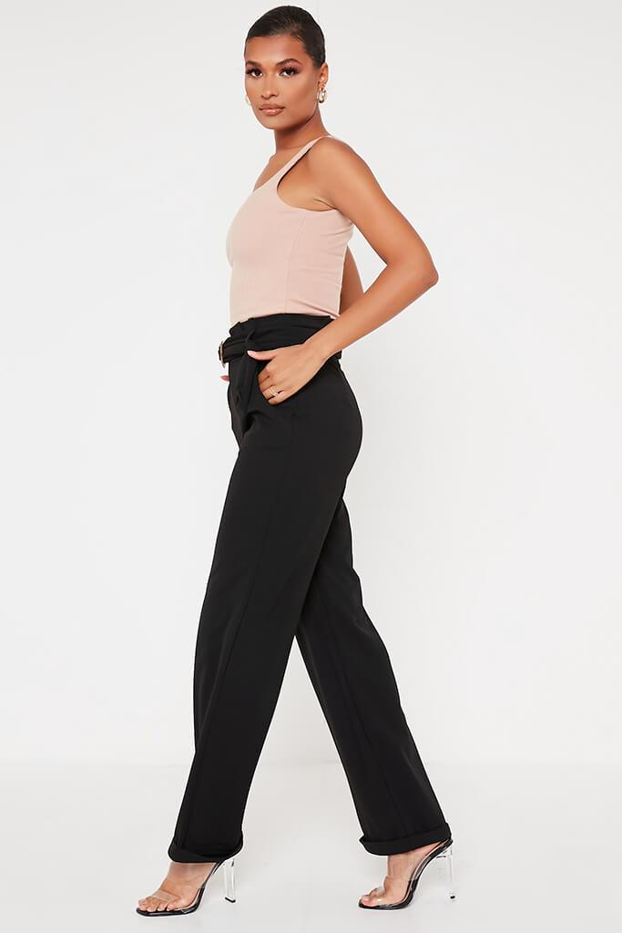 Black Belted Wide Leg Trouser view 3