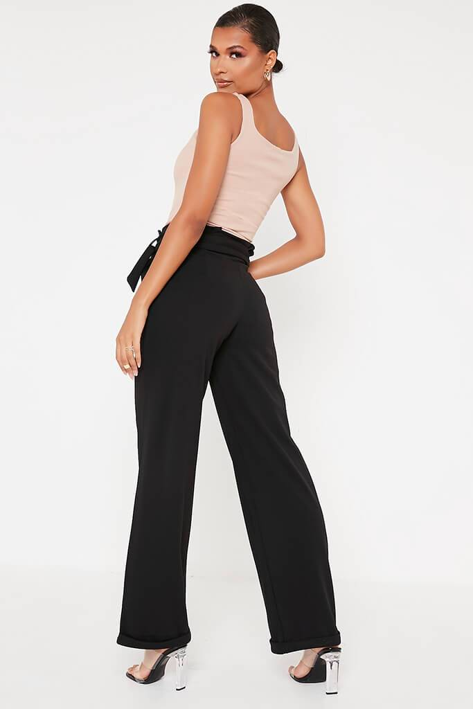 Black Belted Wide Leg Trouser view 5