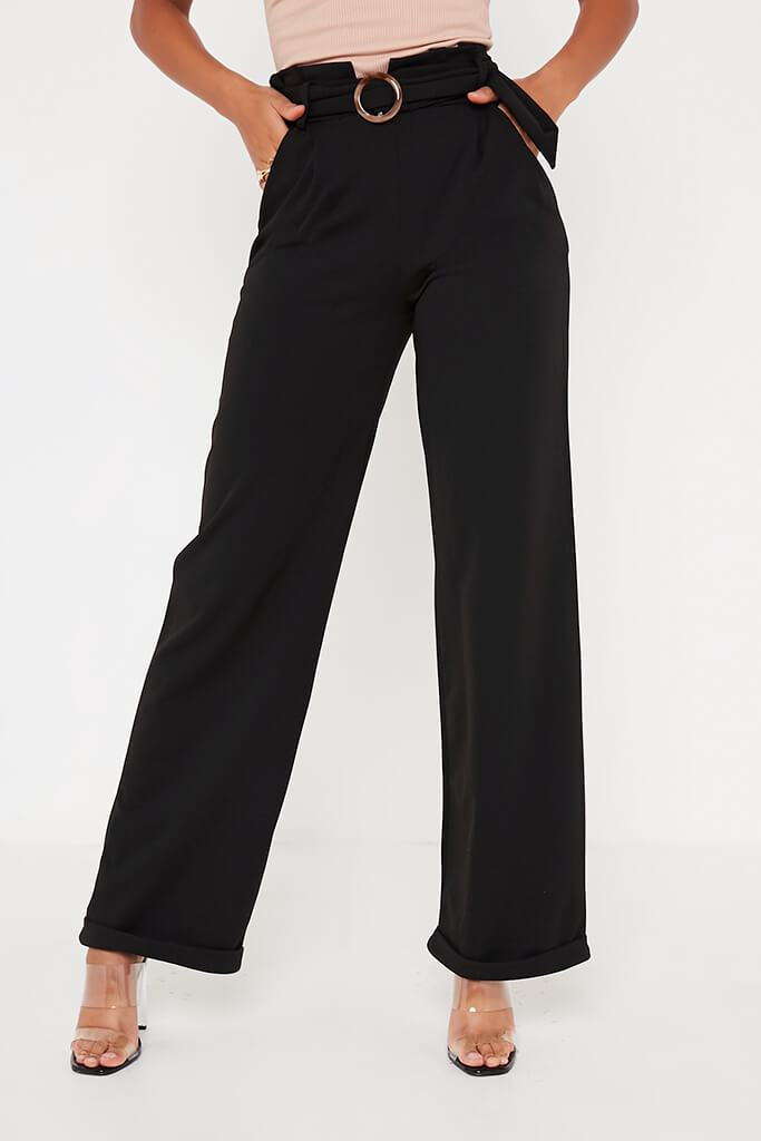 Black Belted Wide Leg Trouser view main view