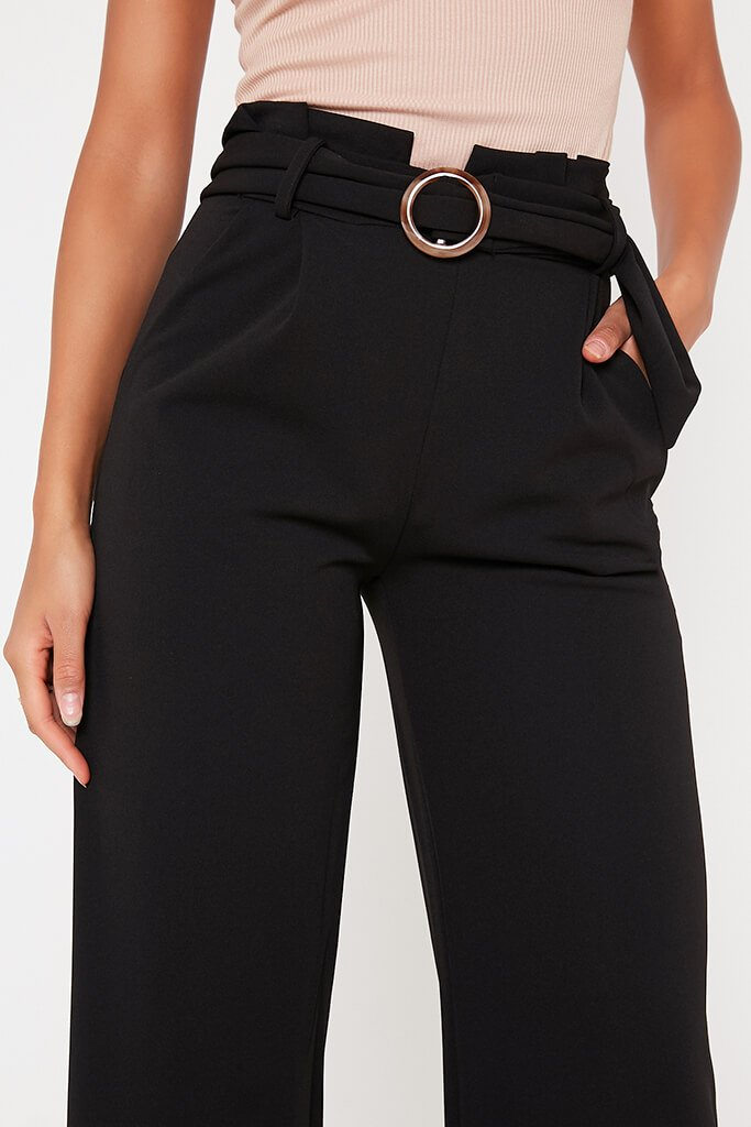 Black Belted Wide Leg Trouser view 4