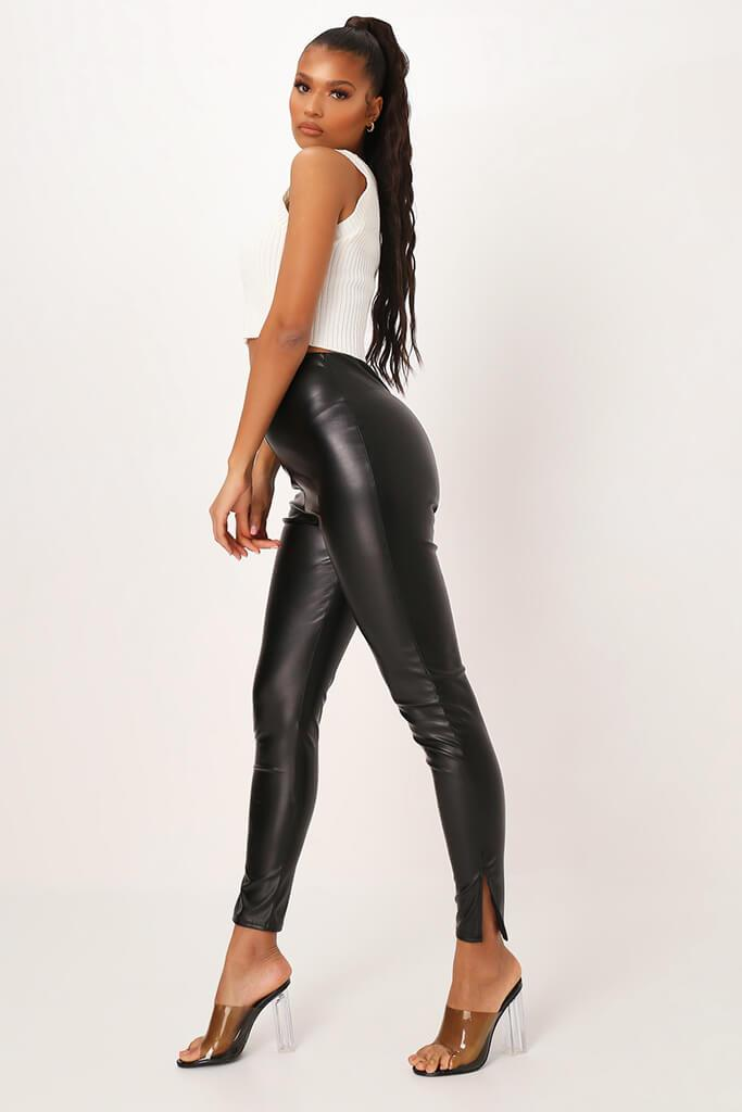 Black Faux Leather Split Leg Trouser view 3
