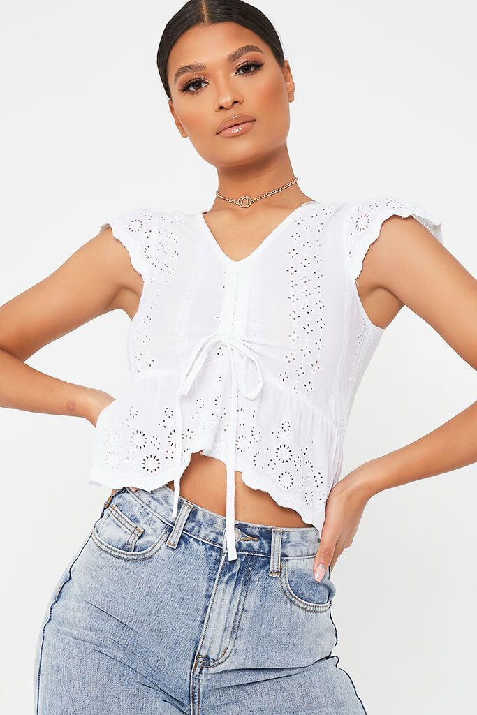 White Broderie Crop Top