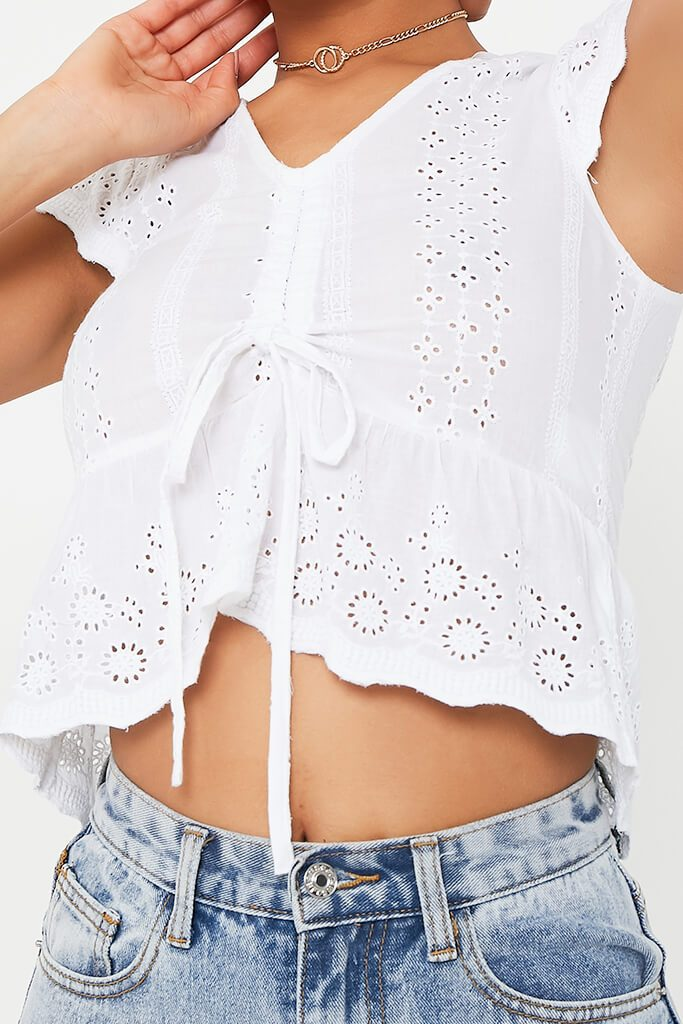 White Broderie Crop Top view 4