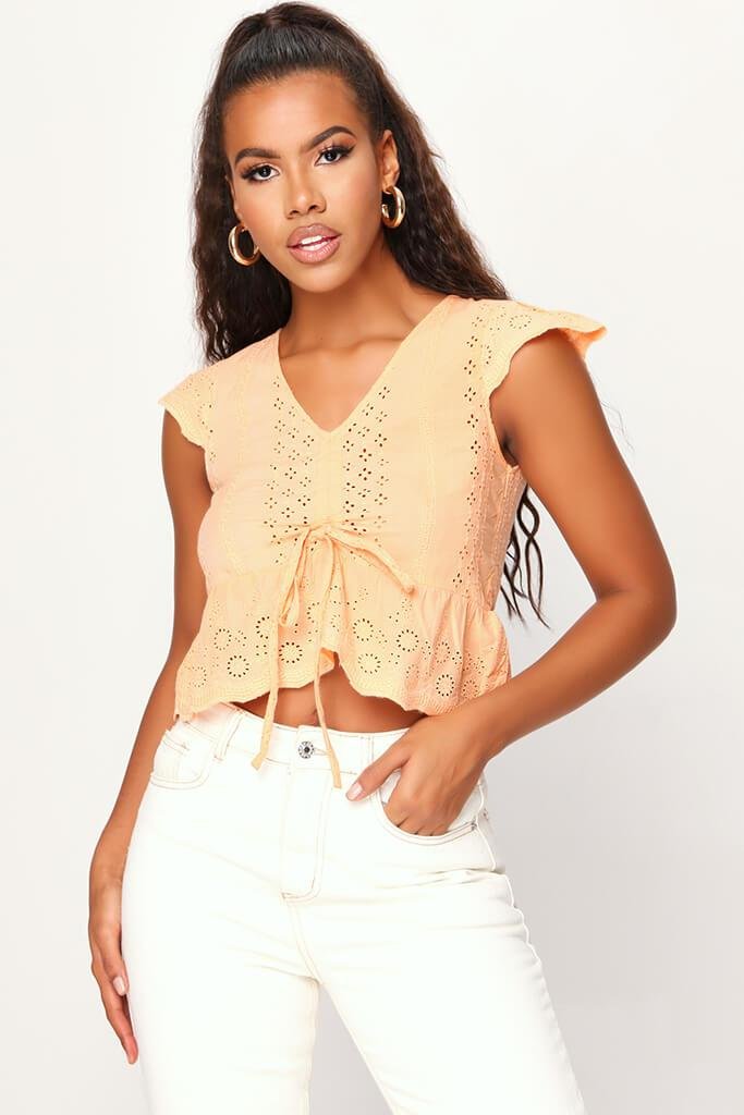 Peach Broderie Crop Top