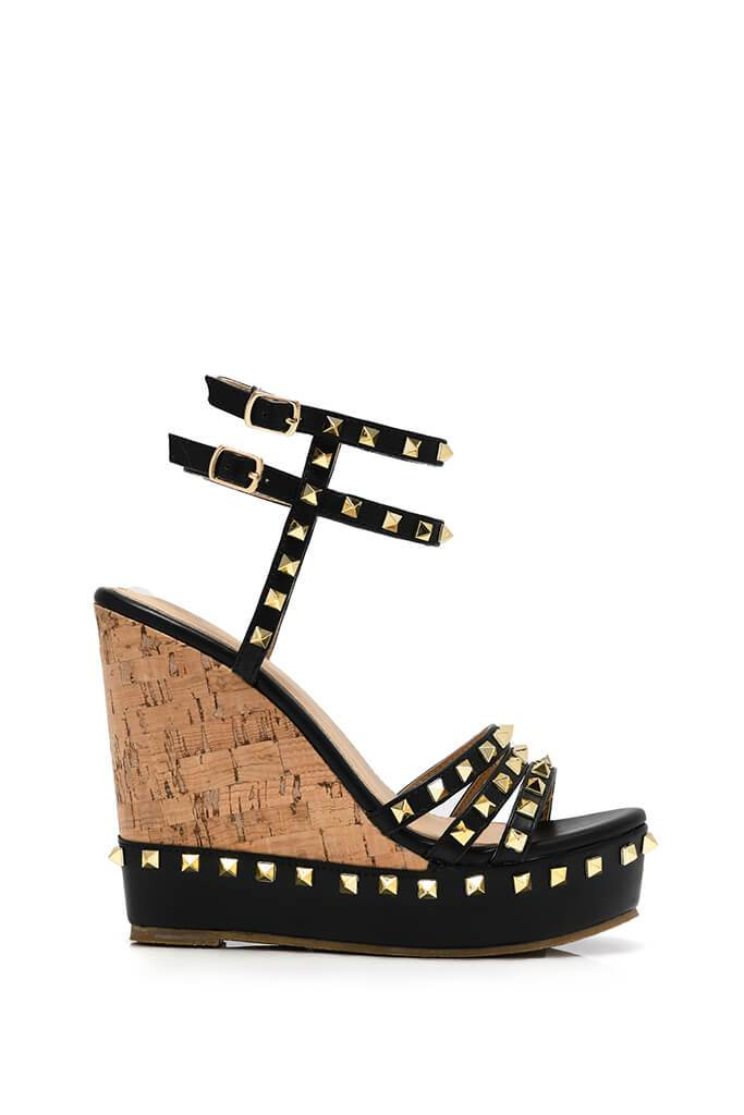 Black Studded Cork Wedge view 4