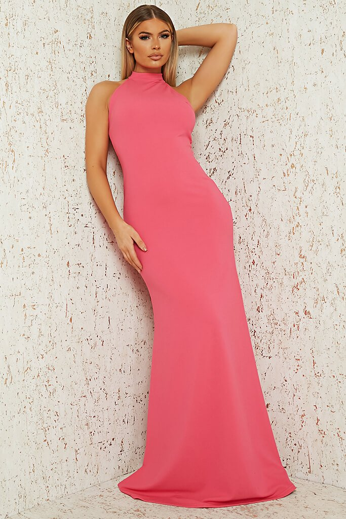 Hot Pink Scuba Crepe Black Halterneck Fishtail Maxi Dress