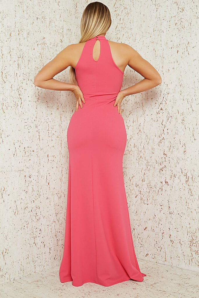Hot Pink Scuba Crepe Black Halterneck Fishtail Maxi Dress view 5