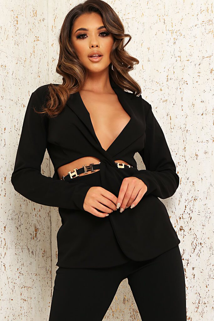 Black Cut Out Waist Blazer