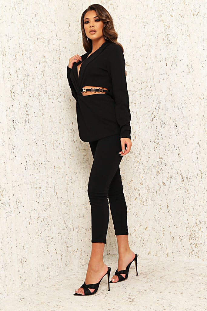 Black Cut Out Waist Blazer view 3