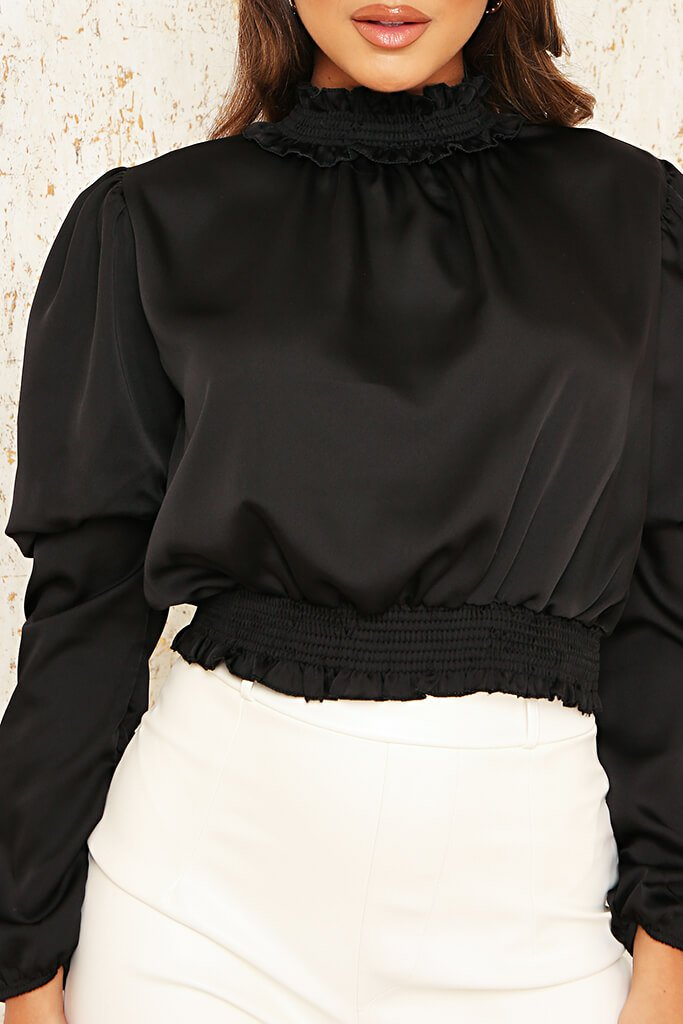 Black Satin High Neck Gathered Waist Blouse view 4