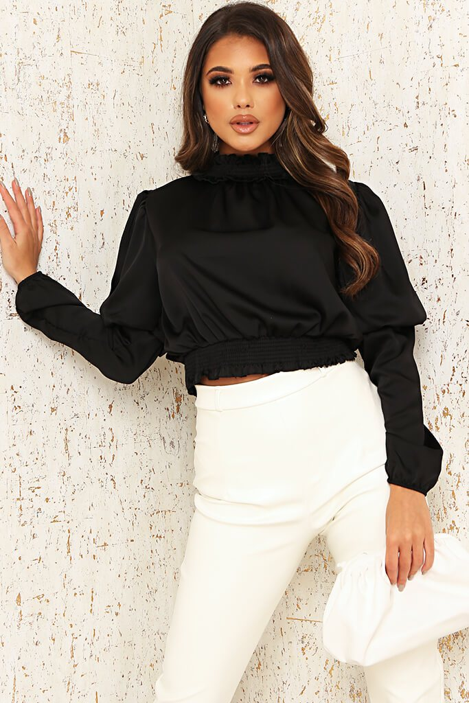 Black Satin High Neck Gathered Waist Blouse view main view