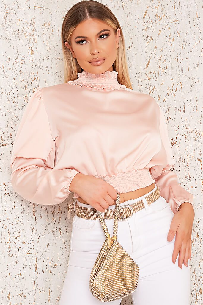 Pink Satin High Neck Gathered Waist Blouse view main view