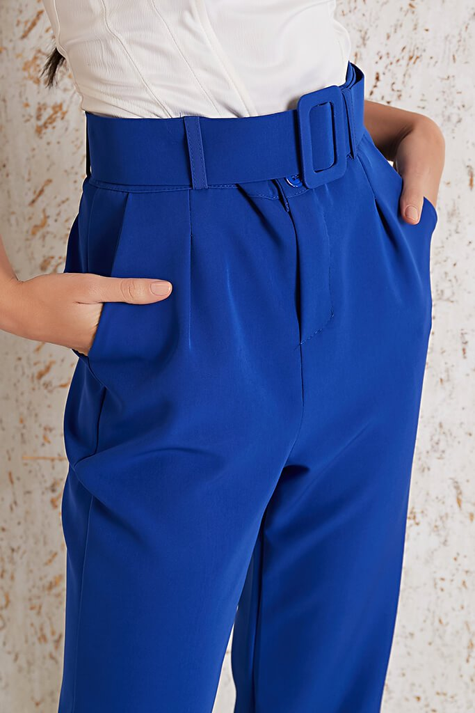 Cobalt Blue Belted Trouser view 4