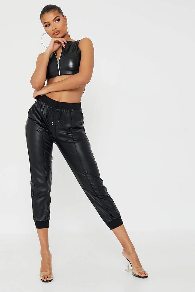 Black Faux Leather Seamed Front Jogger view 2