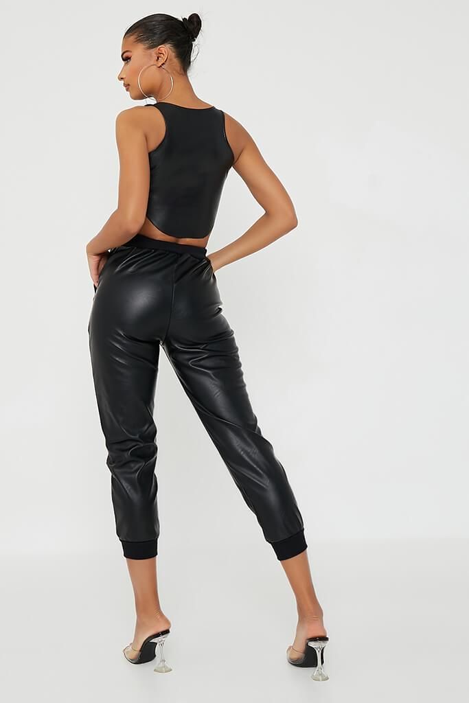 Black Faux Leather Seamed Front Jogger view 5
