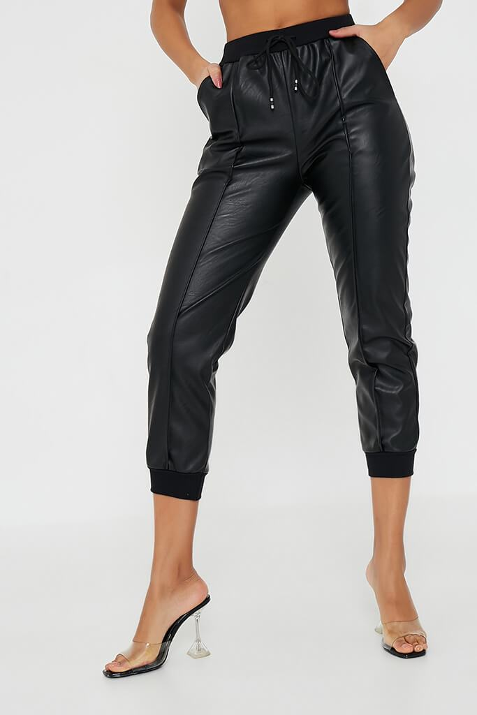 Black Faux Leather Seamed Front Jogger view 3