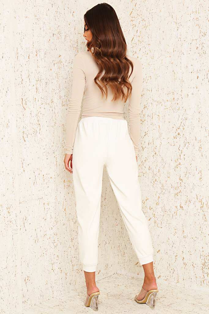 White Faux Leather Seamed Front Jogger view 5