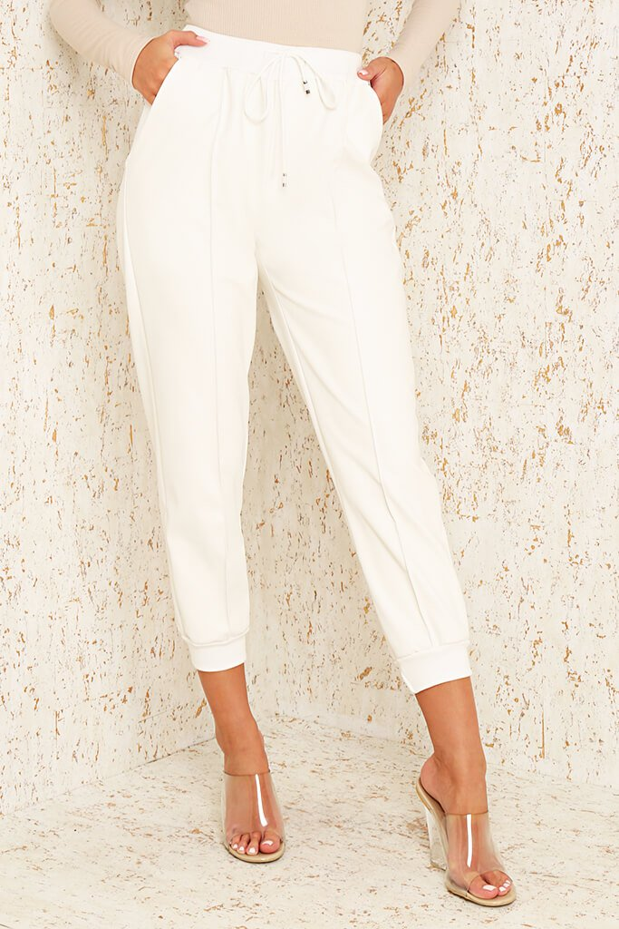 White Faux Leather Seamed Front Jogger view 2