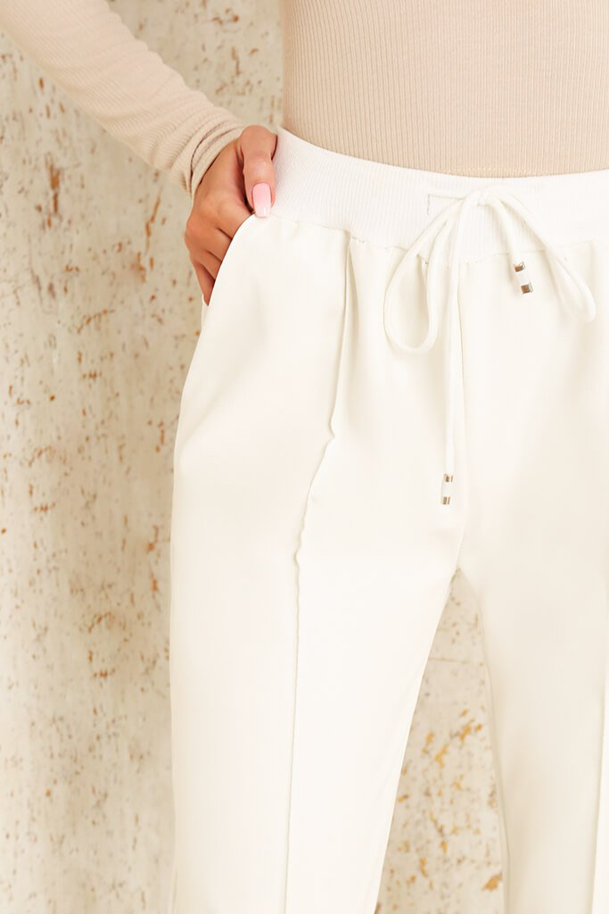 White Faux Leather Seamed Front Jogger view 4