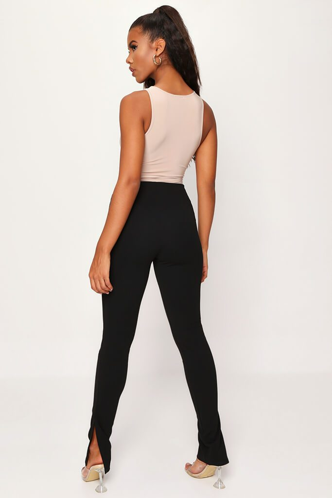 Black High Waisted Side Split Trousers view 5