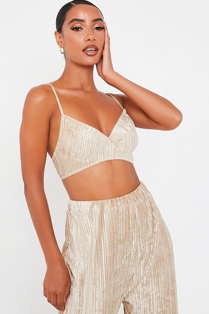 Gold Crushed Velvet Bralet view main view