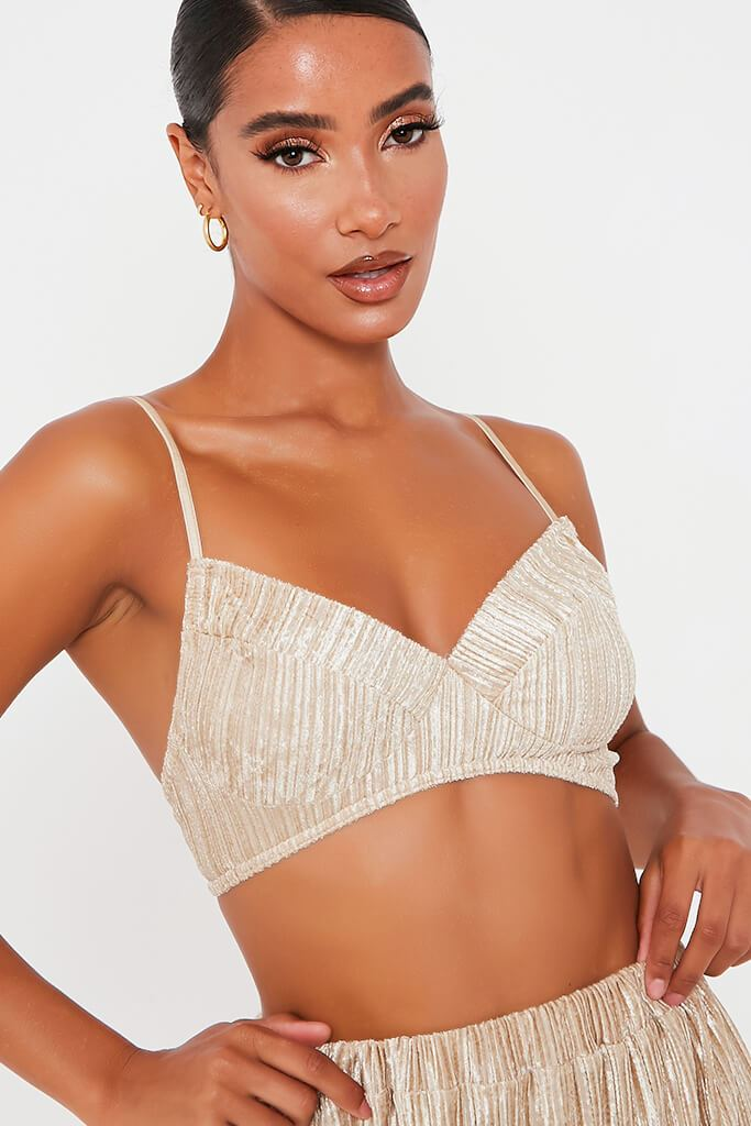 Gold Crushed Velvet Bralet view 4