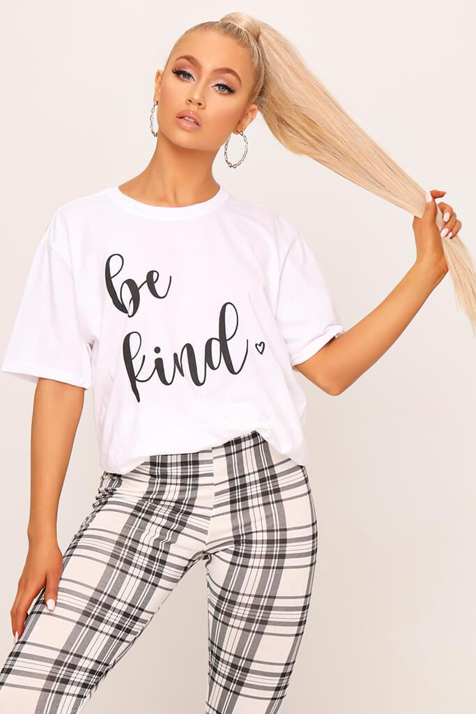 White ' Be Kind ' Oversized T-Shirt view main view
