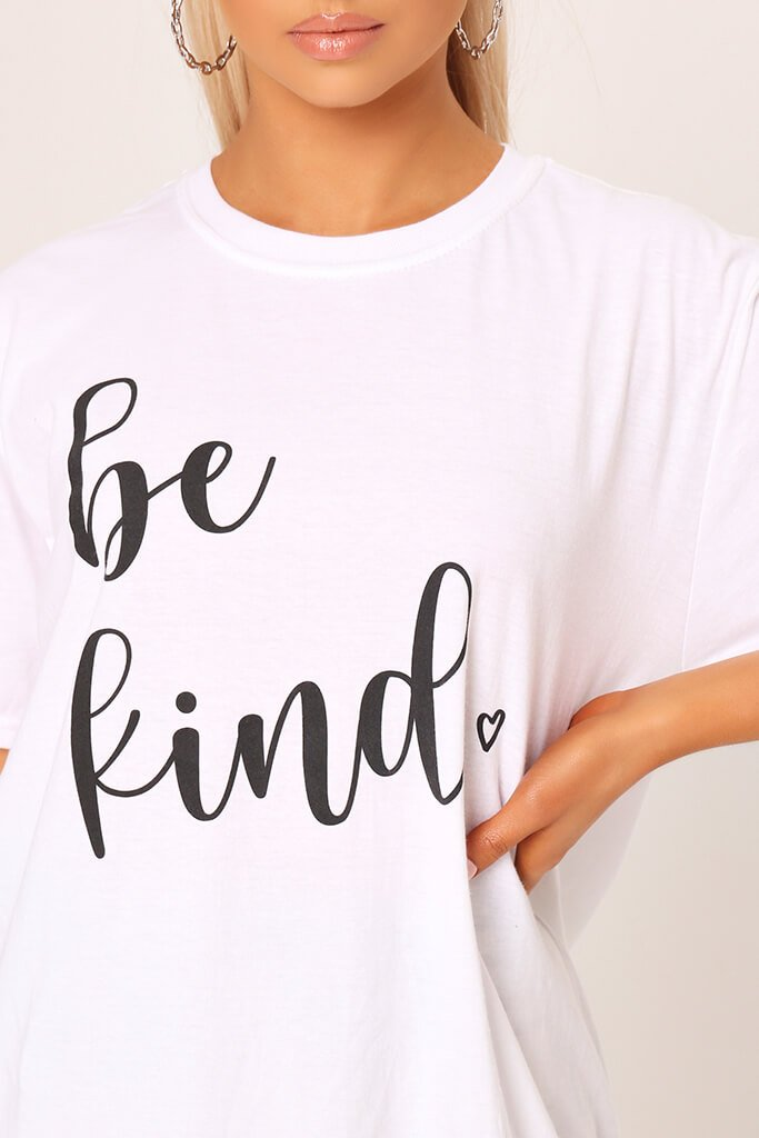 White ' Be Kind ' Oversized T-Shirt view 4