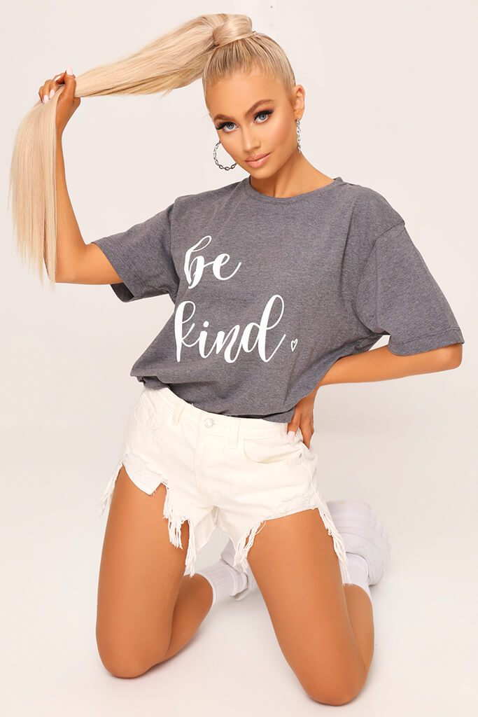 Grey ' Be Kind ' Oversized T-Shirt