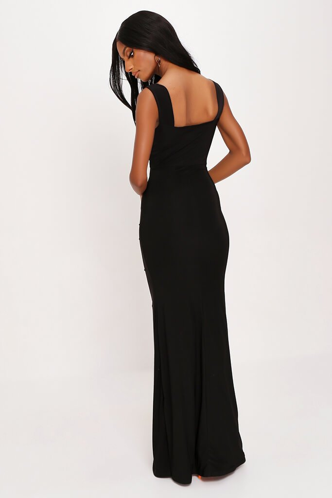 Black Double Layer Slinky Bardot Ruched Twist Front Cut Out Maxi Dress view 5