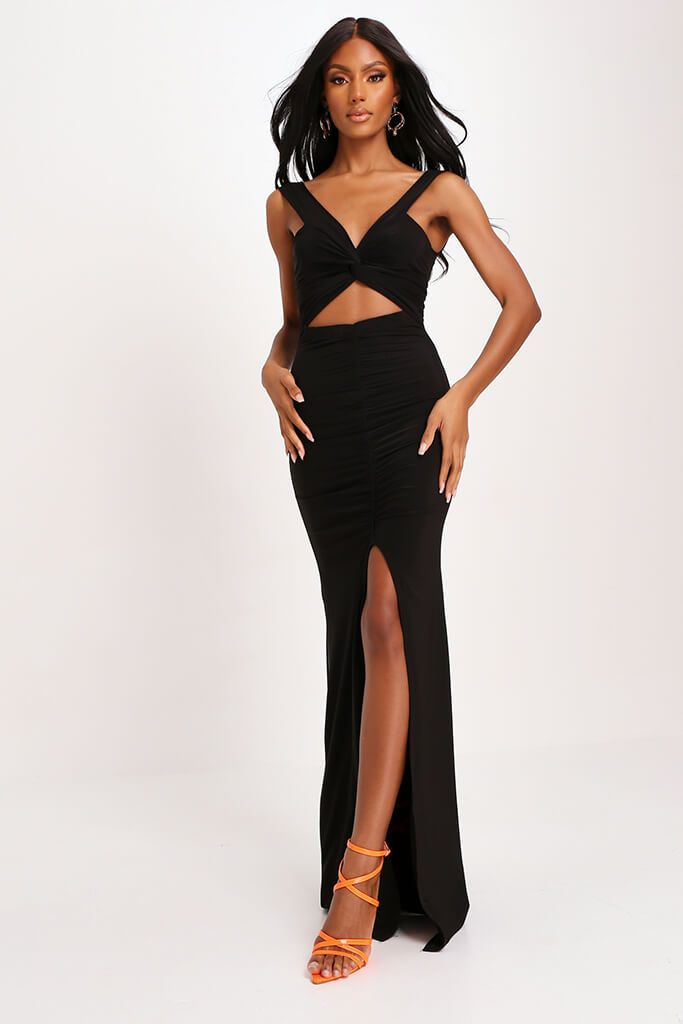 Black Double Layer Slinky Bardot Ruched Twist Front Cut Out Maxi Dress