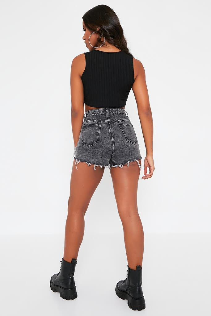 Black Distressed Hem High Waisted Mom Shorts view 5