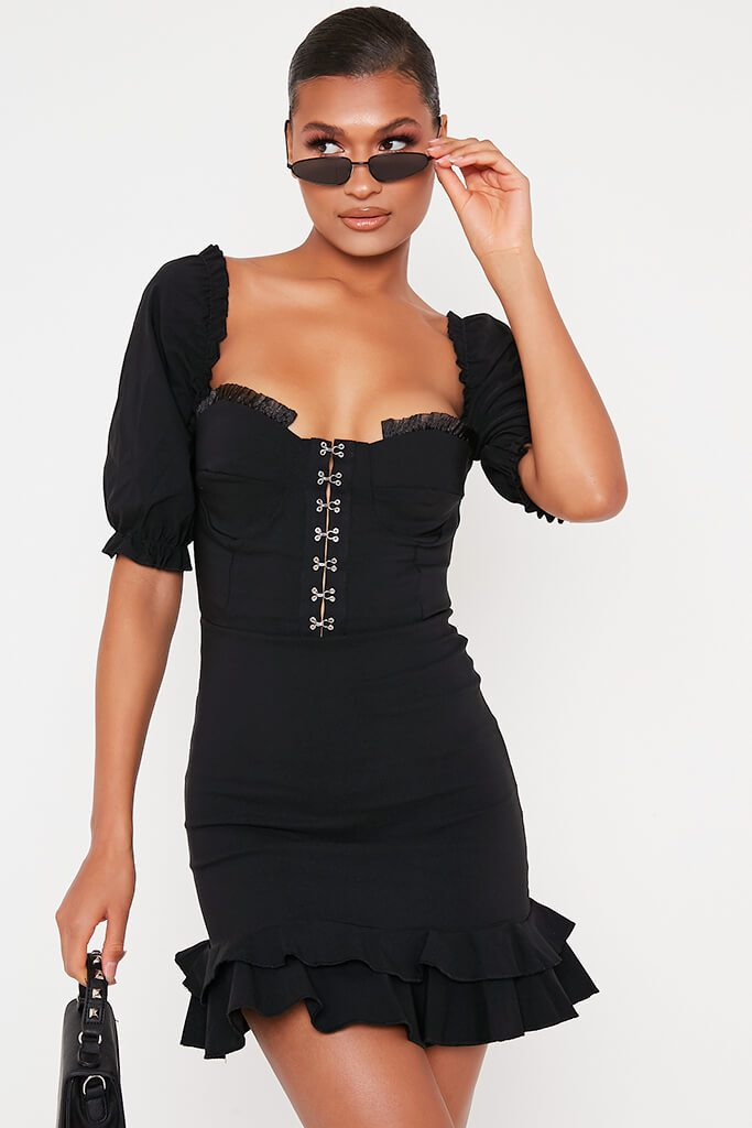 Black Bengaline Hook And Eye Puff Sleeve Shift Dress