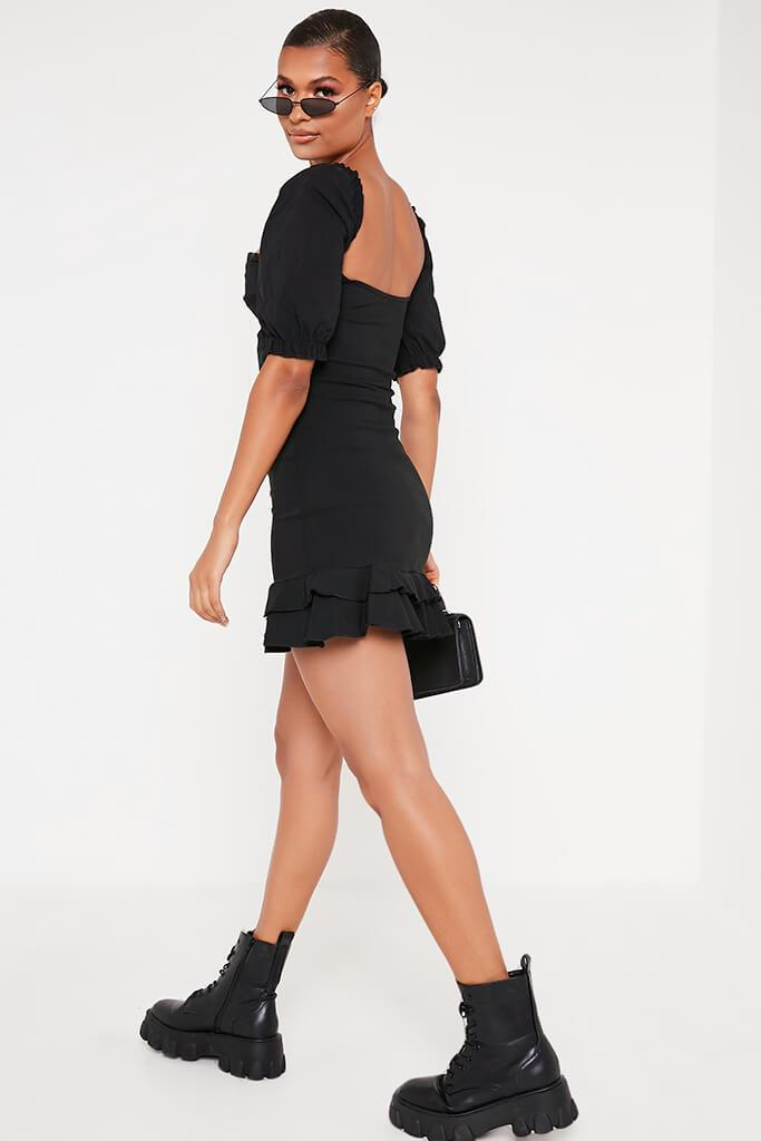 Black Bengaline Hook And Eye Puff Sleeve Shift Dress view 5
