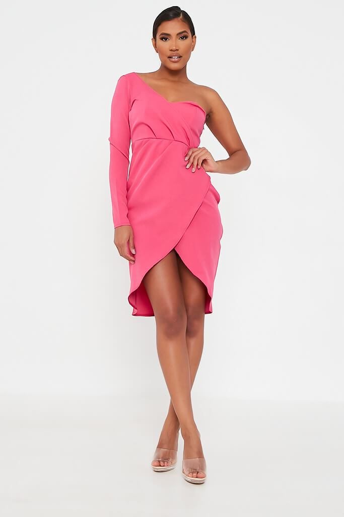 Pink Woven One Shoulder Drape Midi Dress view 2