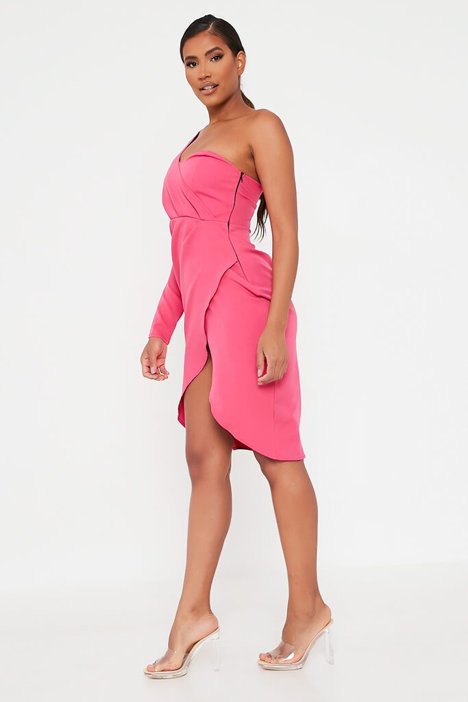 Pink Woven One Shoulder Drape Midi Dress view 3