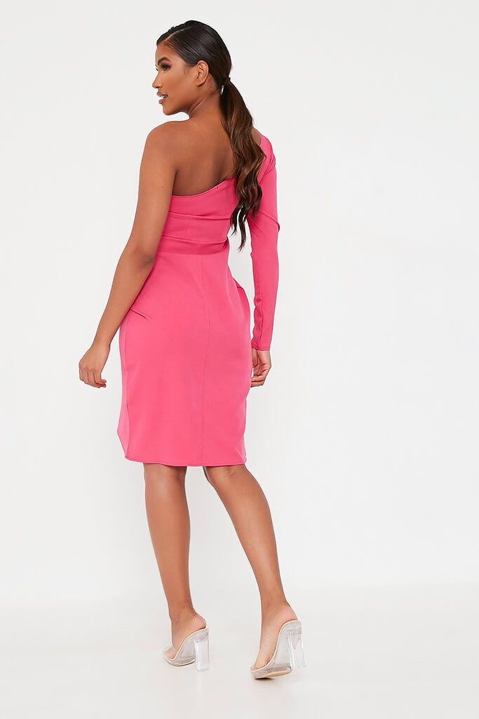 Pink Woven One Shoulder Drape Midi Dress view 5