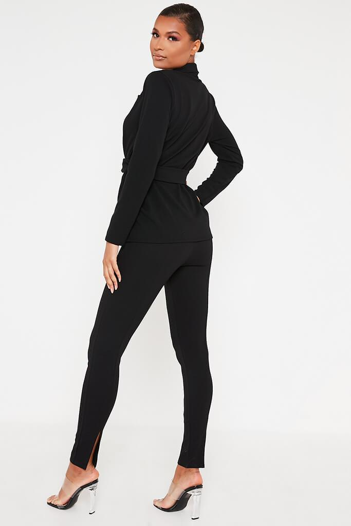 Black Crepe Seamed Back Hem Split Skinny Trouser
