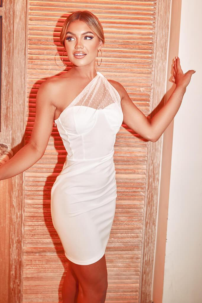White Dobby Mesh One Shoulder Bodycon Dress view main view