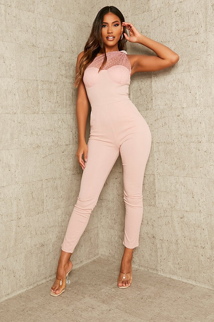 Rose Dobby Mesh One Shoulder Skinny Leg Jumpsuit view main view