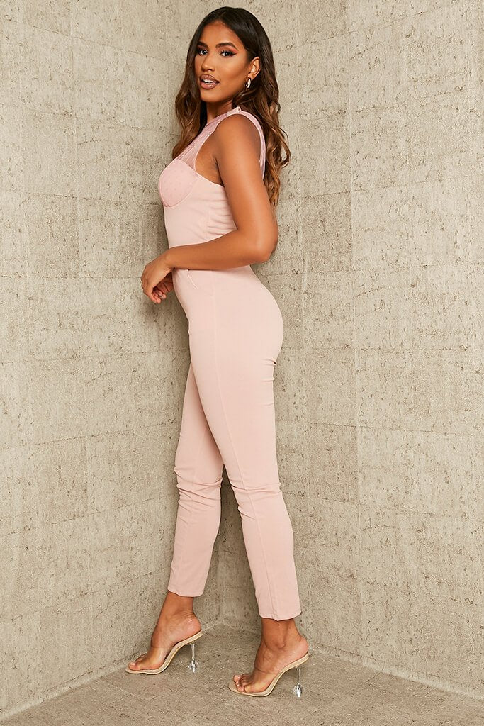 Rose Dobby Mesh One Shoulder Skinny Leg Jumpsuit view 3