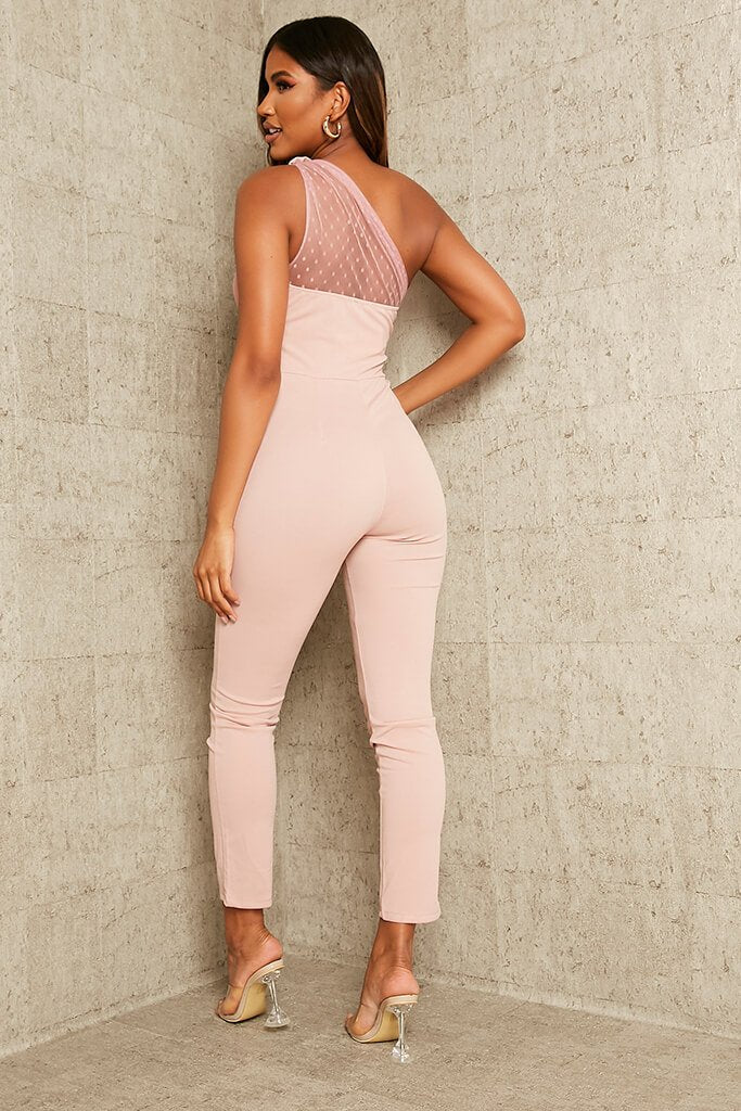 Rose Dobby Mesh One Shoulder Skinny Leg Jumpsuit view 5
